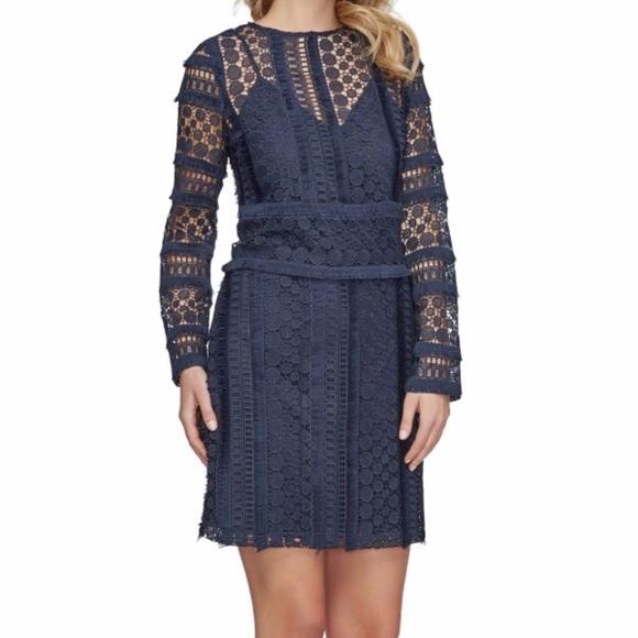 7c1ba8474f0e9 Sam Edelman Navy Blue Fringe Lace shift dress NWT